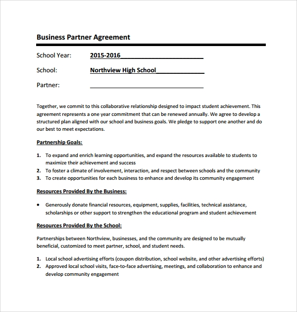 example of business partner agreement