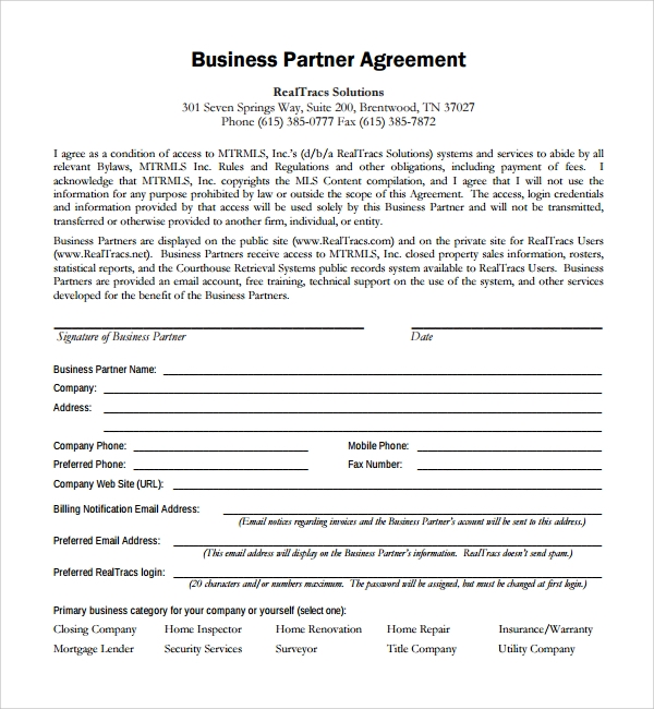 Sample Business Partner Agreement 7 Free Documents Download in – Business Partner Agreement