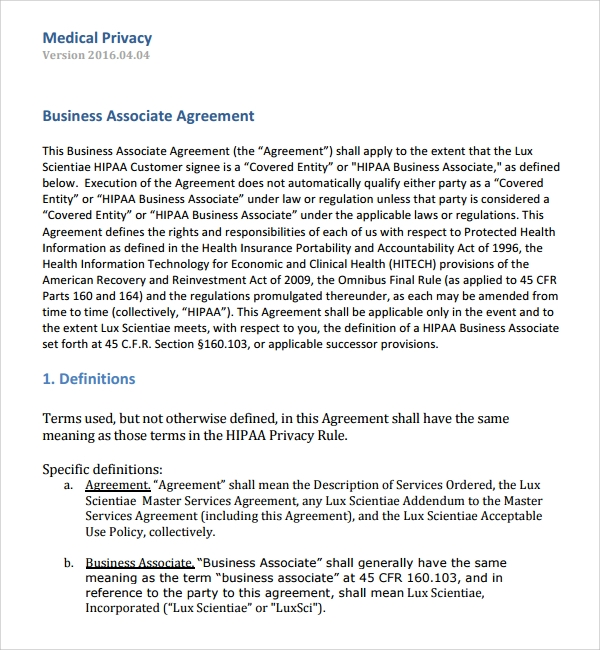 Sample Business Associates Agreement 7 Free Documents Download – Business Associate Agreement Template