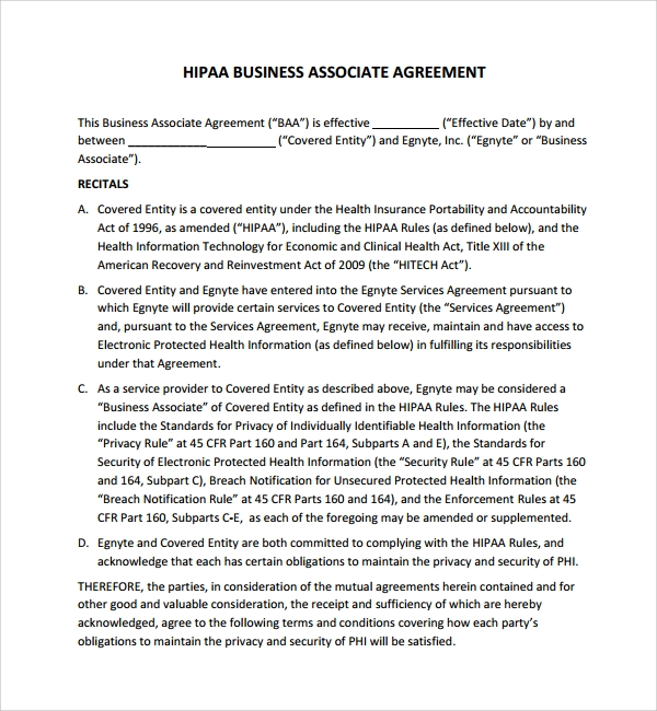 Sample Business Associates Agreement 7 Free Documents Download – Business Associate Agreement Samples