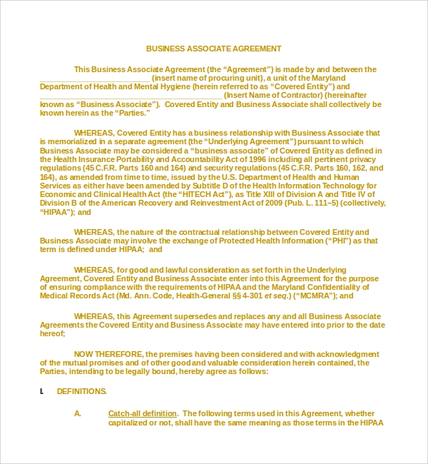 Sample Business Associates Agreement   Free Documents Download In