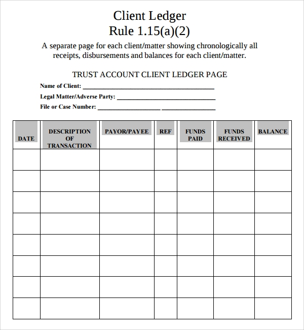 trust account ledger template