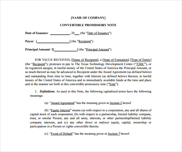 Genial Convertible Promissory Note Agreement Template