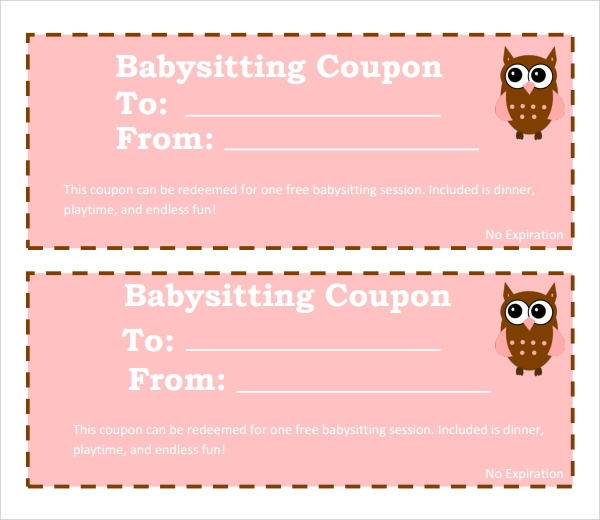 image about Babysitting Coupon Printable identified as 8+ Babysitting Coupon Templates - PSD, Ai, InDesign