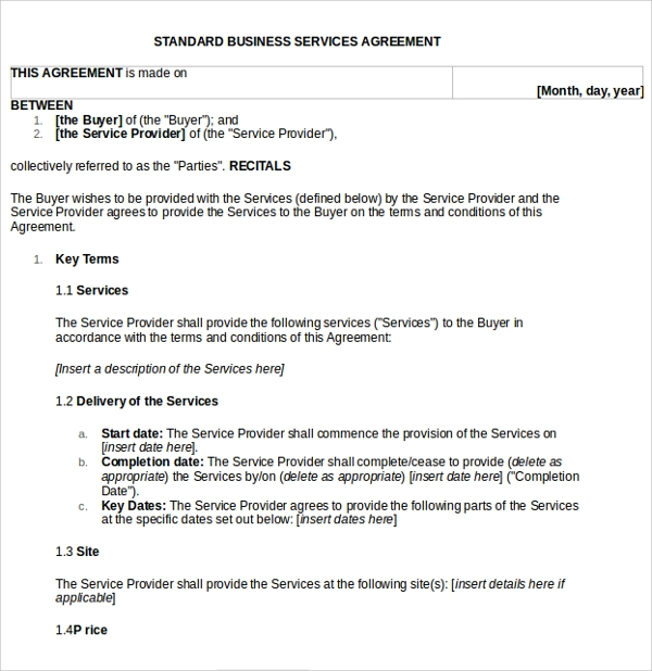 Business Service Agreement Template   Free Documents In Pdf Word