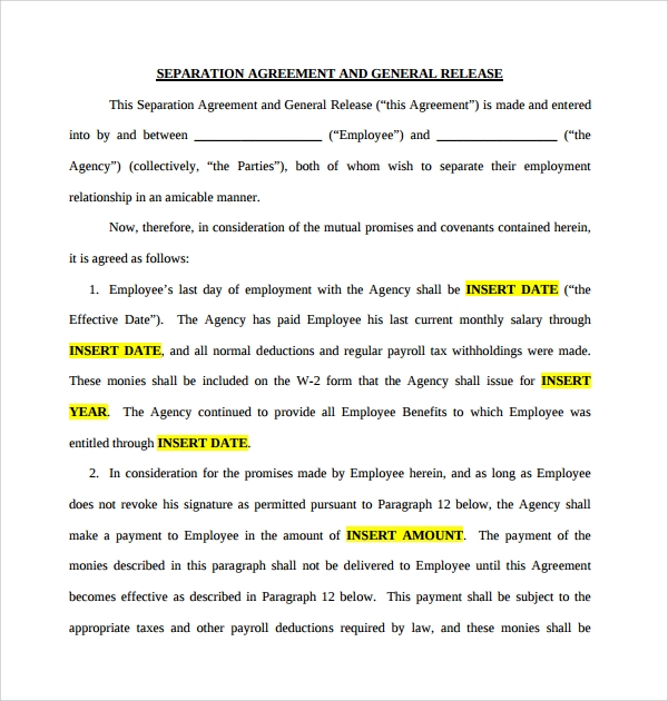 6 business separation agreements sample templates for Seperation agreement template
