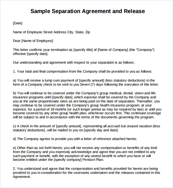 6 Business Separation Agreements Sample Templates