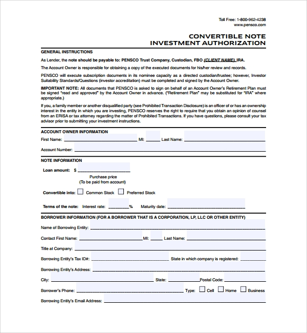 free convertible note agreement