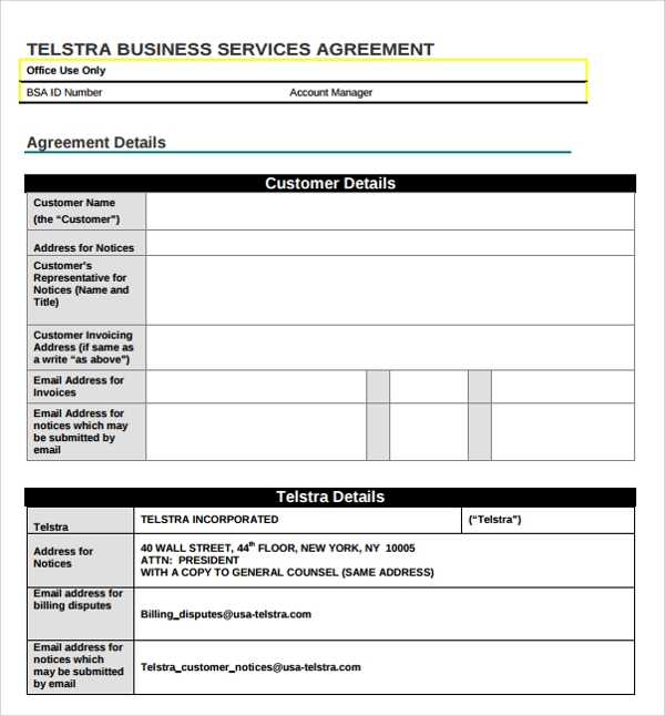 10 Business Service Agreement Templates Sample Templates