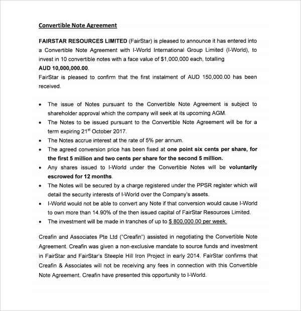 Sample Convertible Note Agreement   Free Documents Download In Pdf