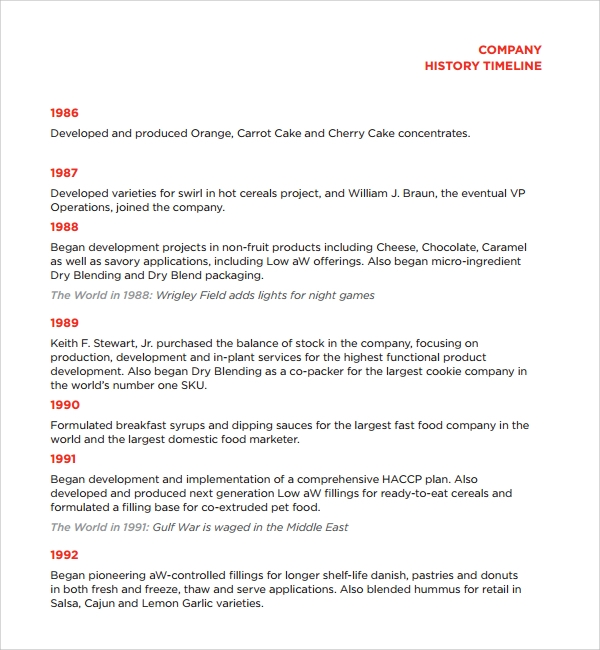 Sample Company History Template   Free Documents Download In