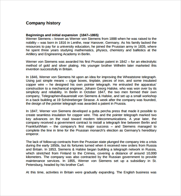 Sample Company History Template - 7+ Free Documents Download In