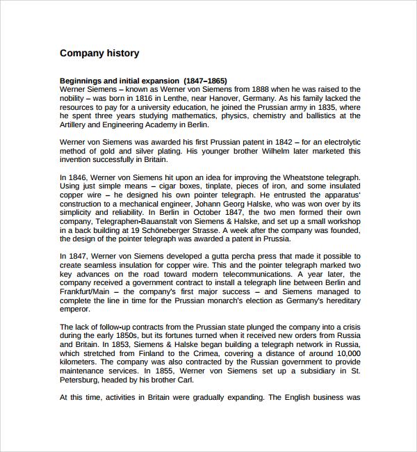 company history template