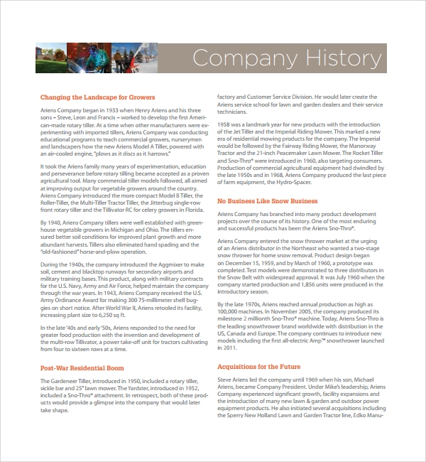 Sample Company History Template   Free Documents Download In Pdf