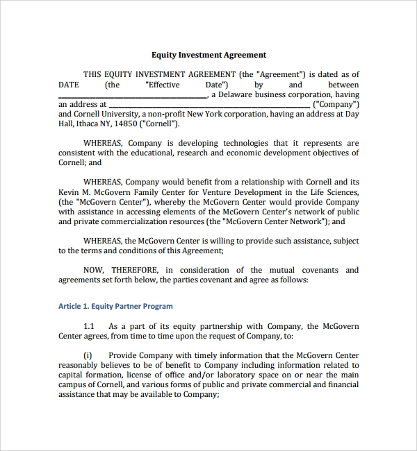 Sample Business Investment Agreement 7 Free Documents Download – Investors Agreement Template