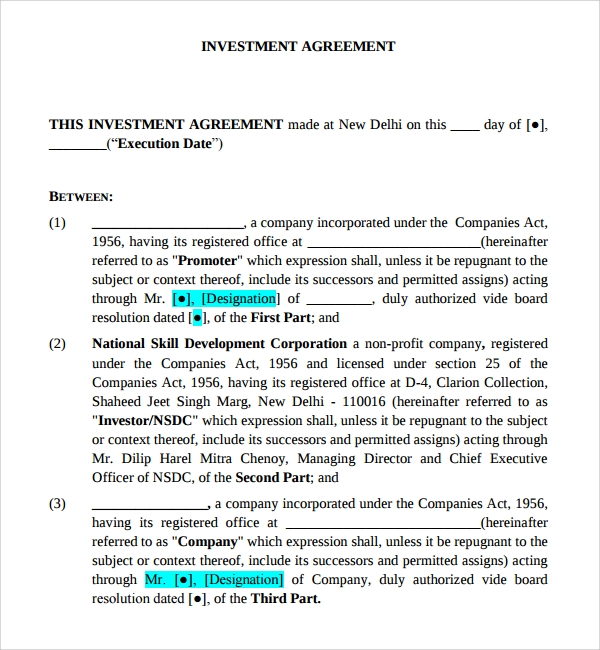 12 Business Investment Agreements Sample Templates