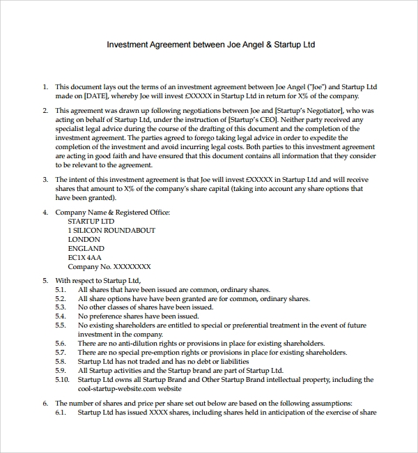 Sample Business Investment Agreement 7 Free Documents Download – Business Investment Agreement
