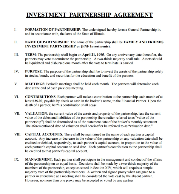 corporate partnership agreement template - 12 business investment agreements sample templates