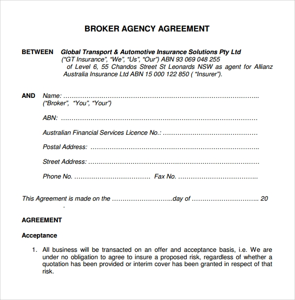 business broker agency agreement template