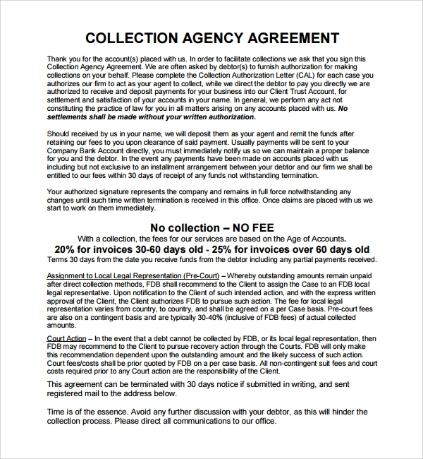 collection agency business agreement template