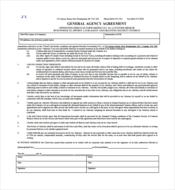 Sample business agency agreement 7 free documents download in sample general agency agreement pronofoot35fo Gallery