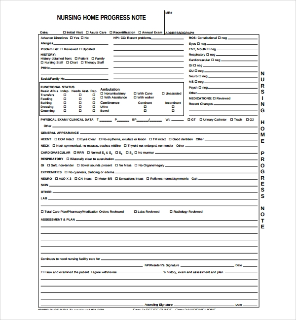 Sample Nursing Notes Template   Free Documents Download In
