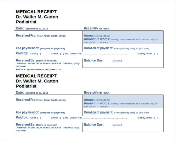 editable doctor receipt template