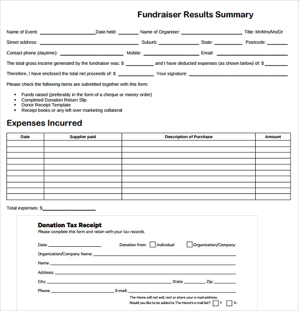 Sample Fundraiser Receipt Template Free Documents In PDF Word - Donation invoice template