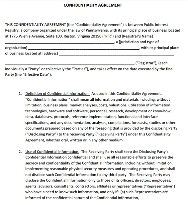 10 generic confidentiality agreement templates sample templates free generic confidentiality agreement accmission