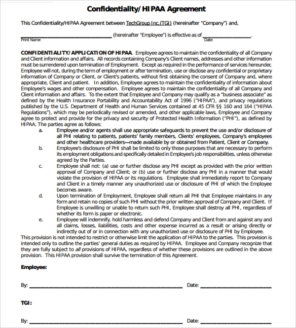 Sample Generic Confidentiality Agreement Template - 9+ Free