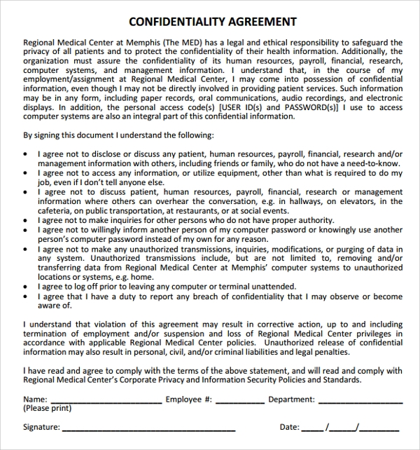 generic medical center confidentiality agreement