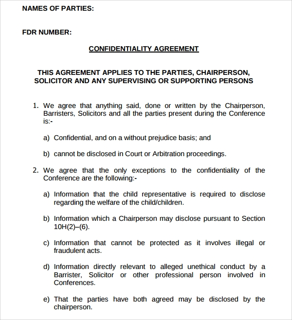 Legal Aid Confidentiality Agreement