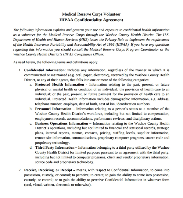 Medical Confidentiality Agreement For HIPAA