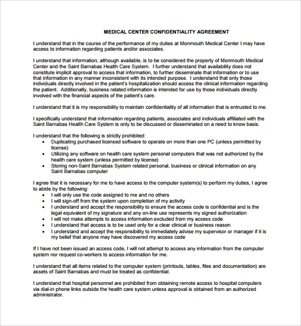 Sample Medical Confidentiality Agreement   Free Documents