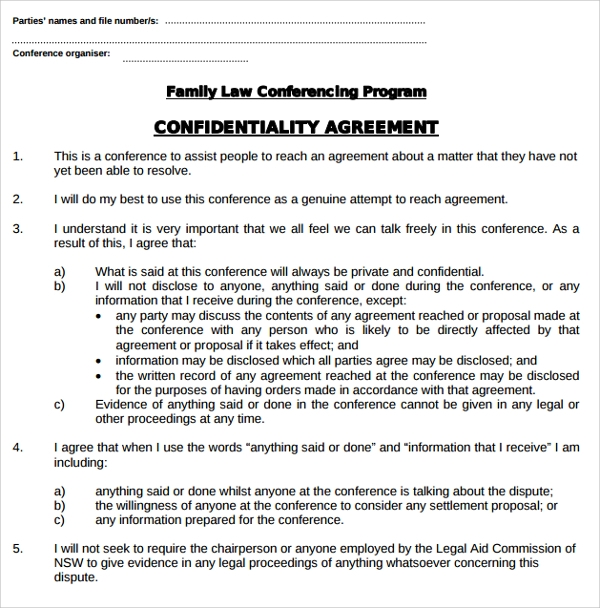 Family Law Legal Confidentiality Agreement  Confidentiality Agreement Free Template