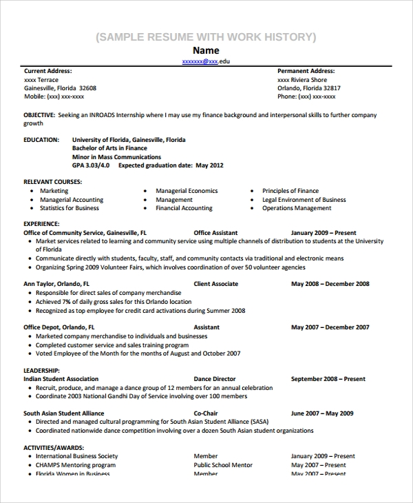 sample resume with work history template