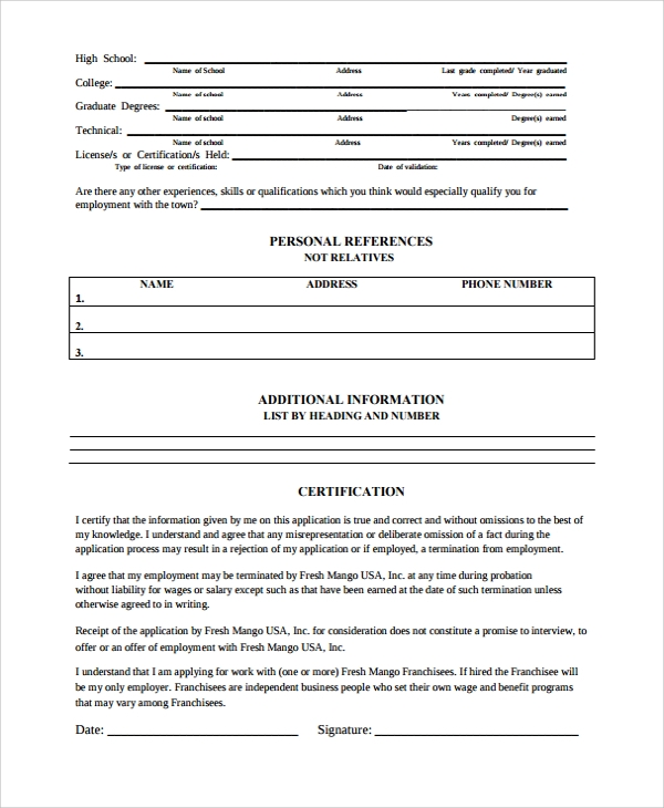 employment work history form template