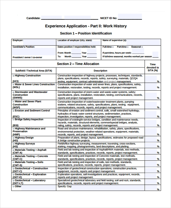 work history checklist template