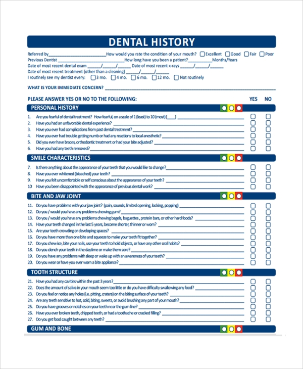 Sample Medical History Template   Free Documents Download In Pdf