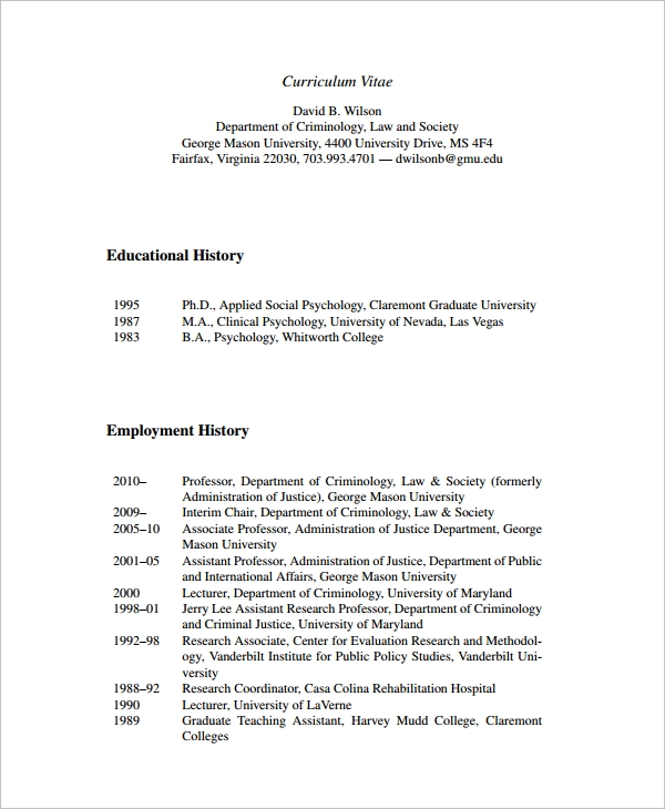 Sample Employment History Template   Free Documents Download In