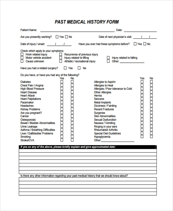 Sample Medical History Template   Free Documents Download In