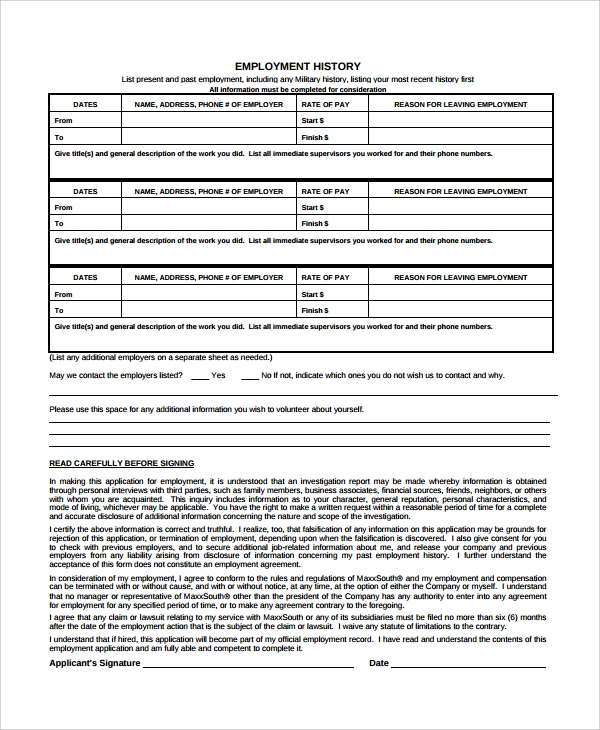 Sample Employment History Template 9 Free Documents Download in – Sample Employment