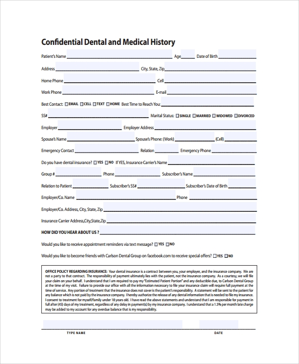 confidential dental medical history template