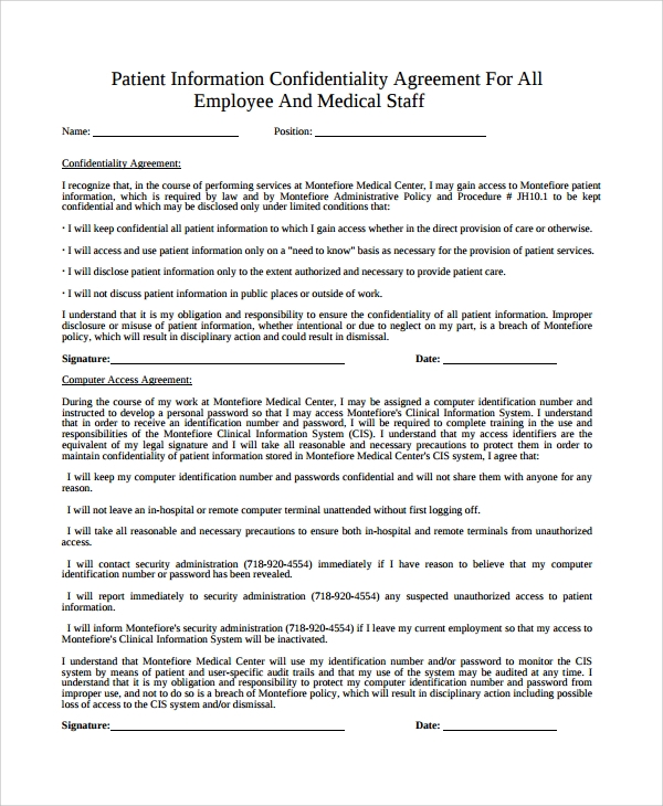 Sample Patient Confidentiality Agreement 6 Free Documents – Medical Confidentiality Agreement