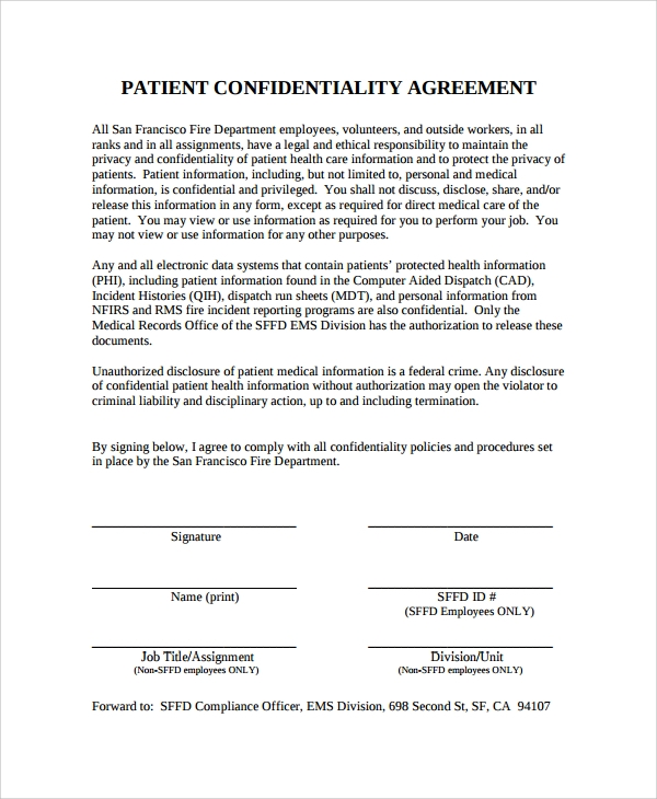 Sample Patient Confidentiality Agreement 6 Free Documents – Confidentiality Agreement Form