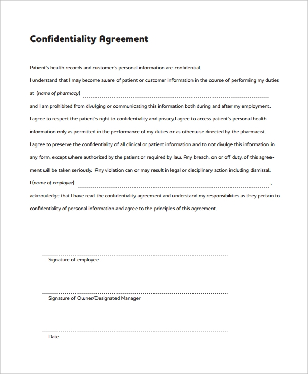 Sample Patient Agreement Forms U2013 National Institute U2026 Sample Medical Confidentiality  Agreement Sample Staff Confidentiality Agreement U2013 7+ Documents In Pdf, ...