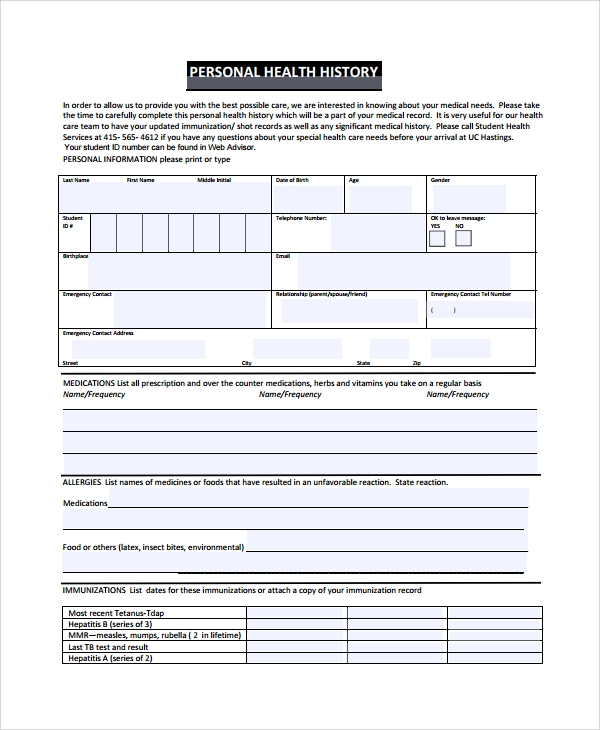 10 health history templates sample templates for Personal wellness plan template
