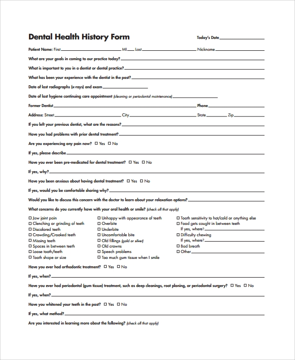 Sample Health History Template - 9+ Free Documents Download in PDF ...