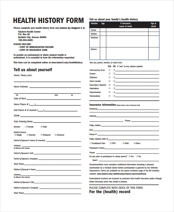 10 health history templates sample templates for Health questionnaire form template