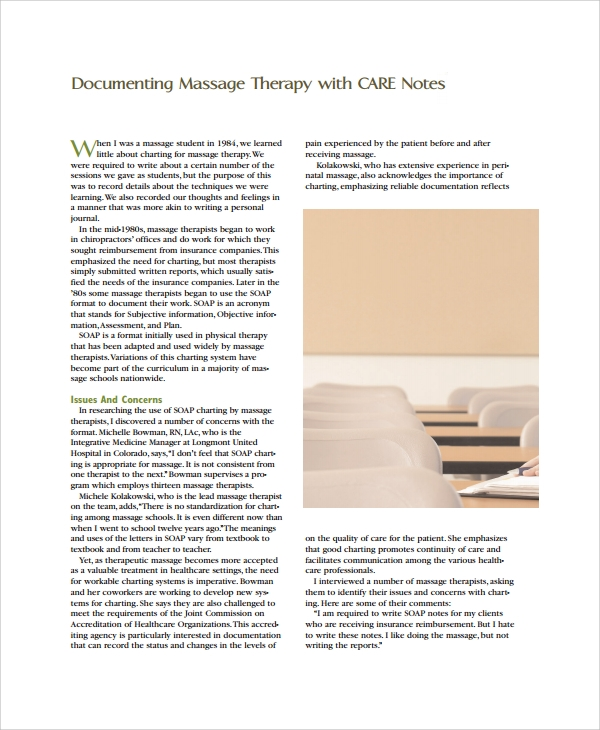 massage therapy note template